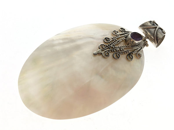 Mother of Pearl with Amethyst Sterling Silver Pendant