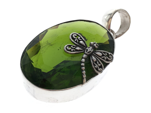 Green stone Mosquito .925 Sterling Silver Pendant