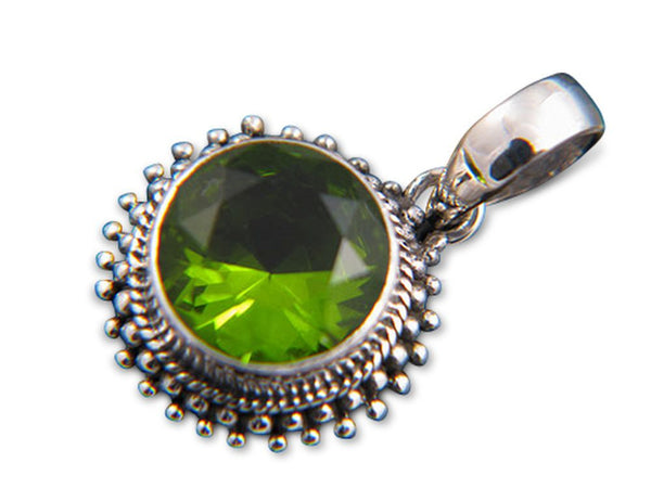 Peridot Framed Dotted Sterling Silver Pendant - Essentially Silver Jewelry