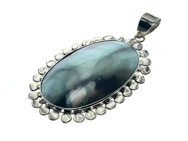 Mabe Dotted Framed Sterling Silver Pendant - Essentially Silver Jewelry