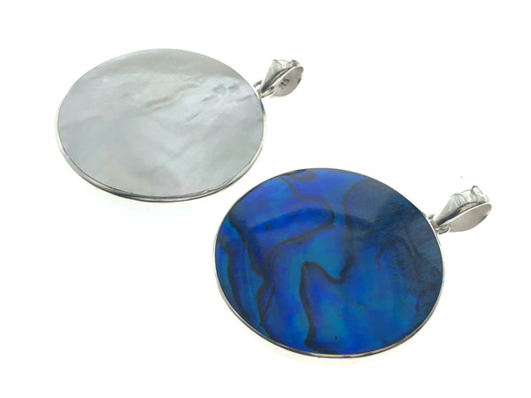 Paua Dyed Blue Mother of Pearl Double Sided Pendant