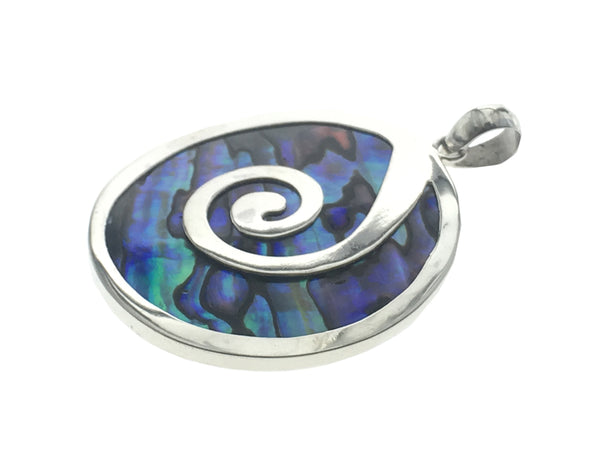 Paua Sterling Silver Frond Round Pendant