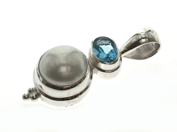 Blue Topaz Pearl Sterling Silver Pendant