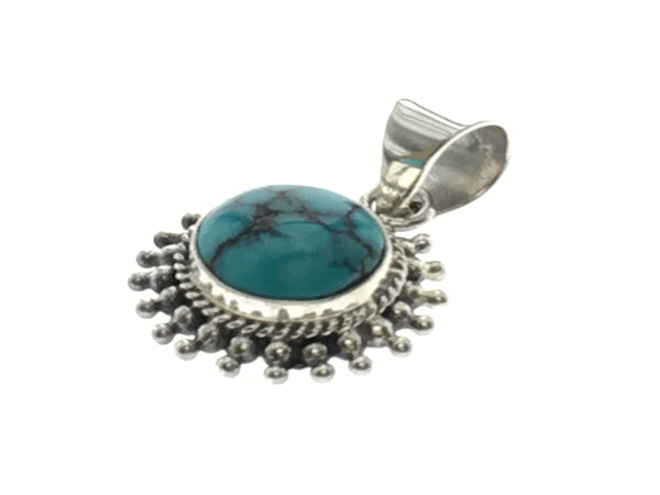Turquoise Round Sterling Silver Pendant
