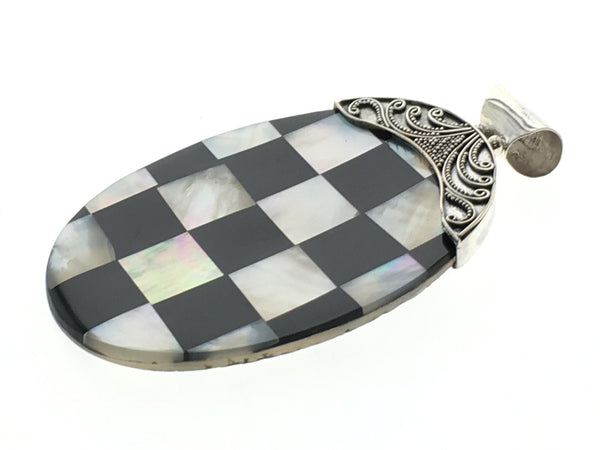 Mother of Pearl Checkered Shell Sterling Silver Pendant - Essentially Silver Jewelry