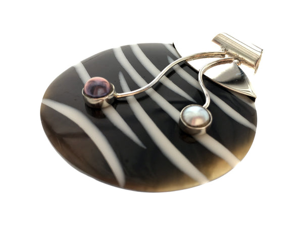 Shell Zebra Stripe and Pearl Sterling Silver Pendant