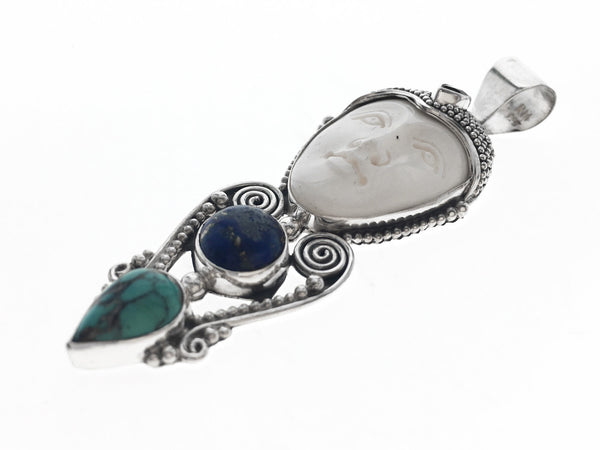 Lapis & Turquoise Bone Face .925 Sterling Silver Scroll - Essentially Silver Jewelry