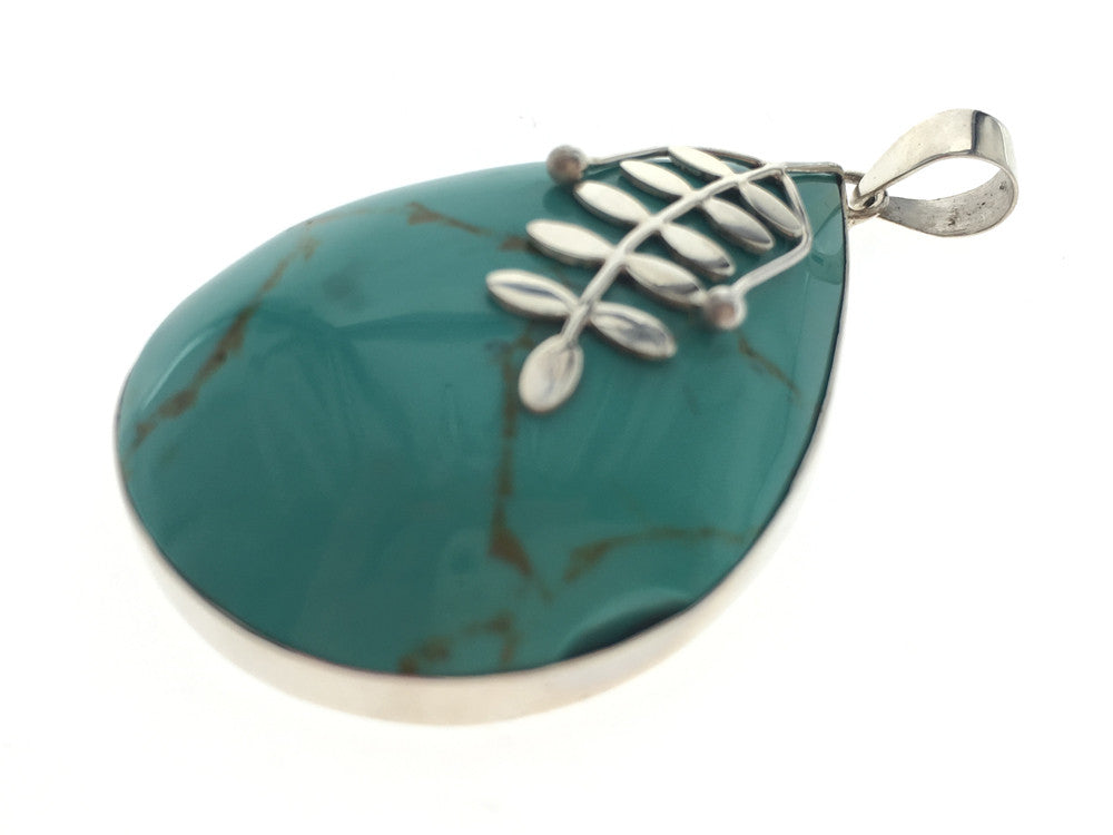 Turquoise Frond .925 Sterling Silver Pendant
