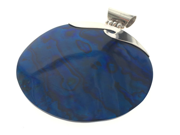 Paua Dyed Blue Sterling Silver Pendant