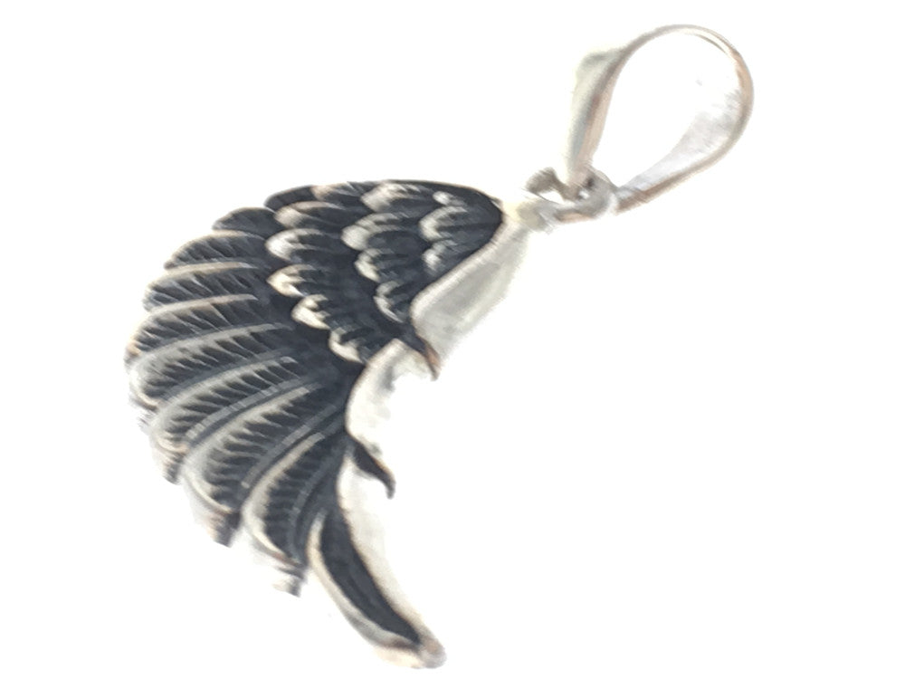 Angel wing sterling silver pendant - Essentially Silver Jewelry