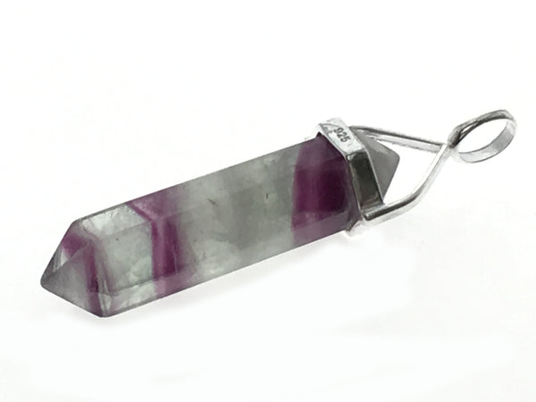 Crystal Fluorite Double Terminated Point Sterling Silver Pendant