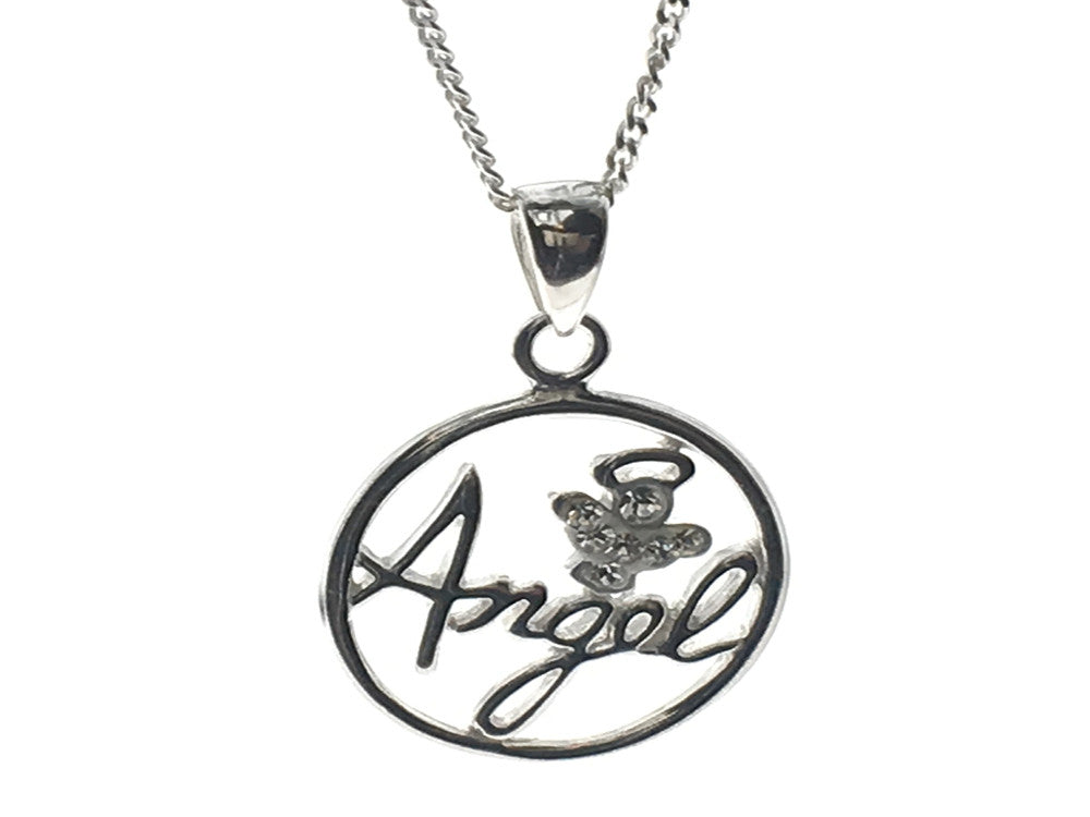 Angel Cubic Zirconia Pendant Sterling Silver Necklace - Essentially Silver Jewelry