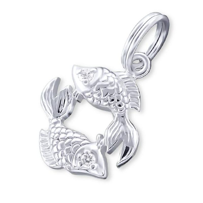 Zodiac Pices Sign Sterling Silver Charm with Split Ring with Cubic Zirconia