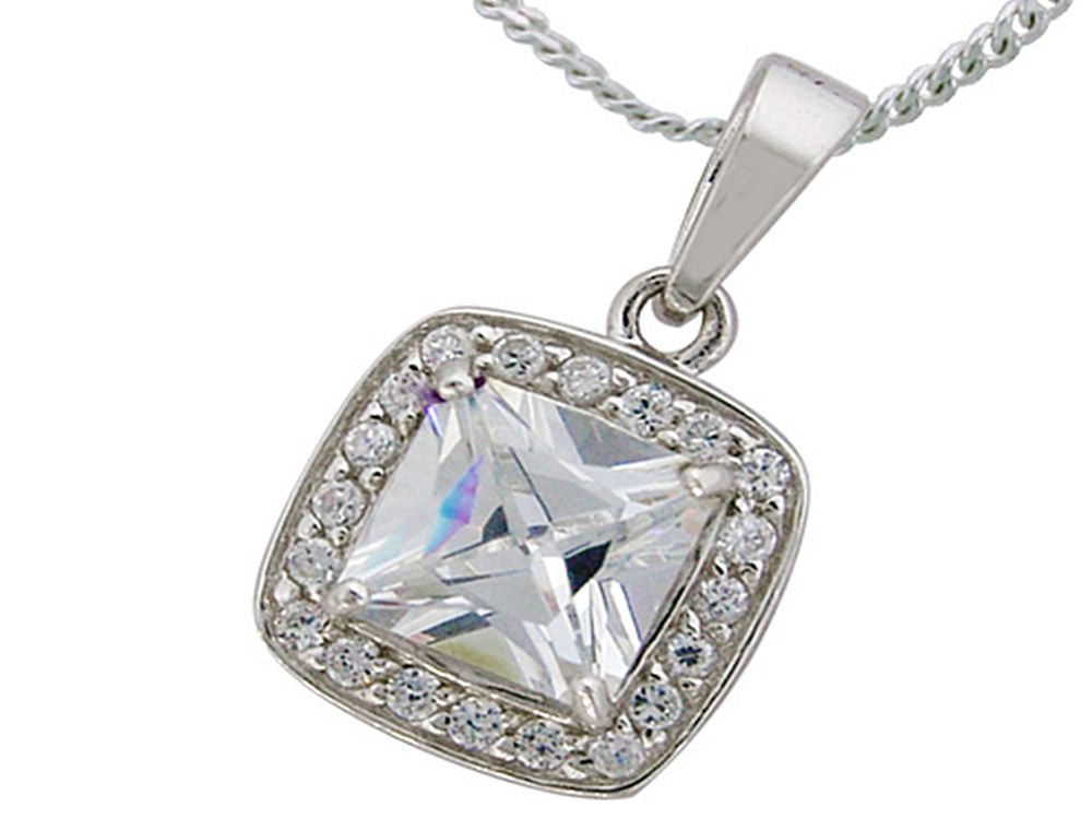 Cubic Zirconia Sterling Silver pendant (chain not included) - Essentially Silver Jewelry