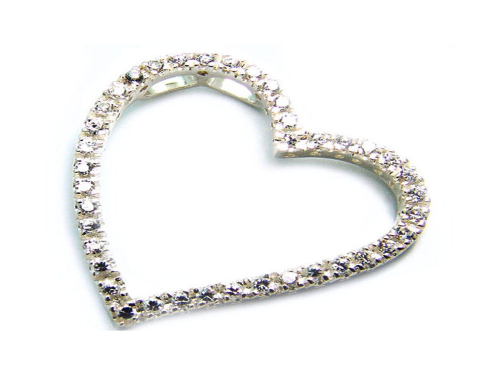 Cubic Zirconia Encrusted Heart .925 sterling silver pendant - Essentially Silver Jewelry