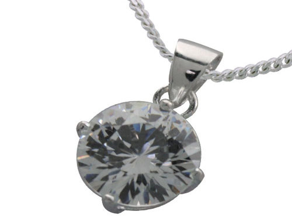Cubic Zirconia Round .925 Sterling Silver Pendant - Essentially Silver Jewelry