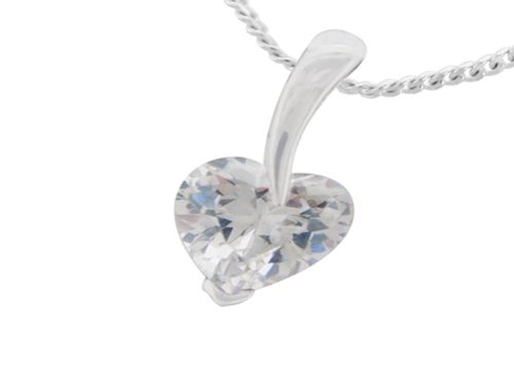 Heart Cubic Zirconia .925 sterling Silver Pendant - Essentially Silver Jewelry