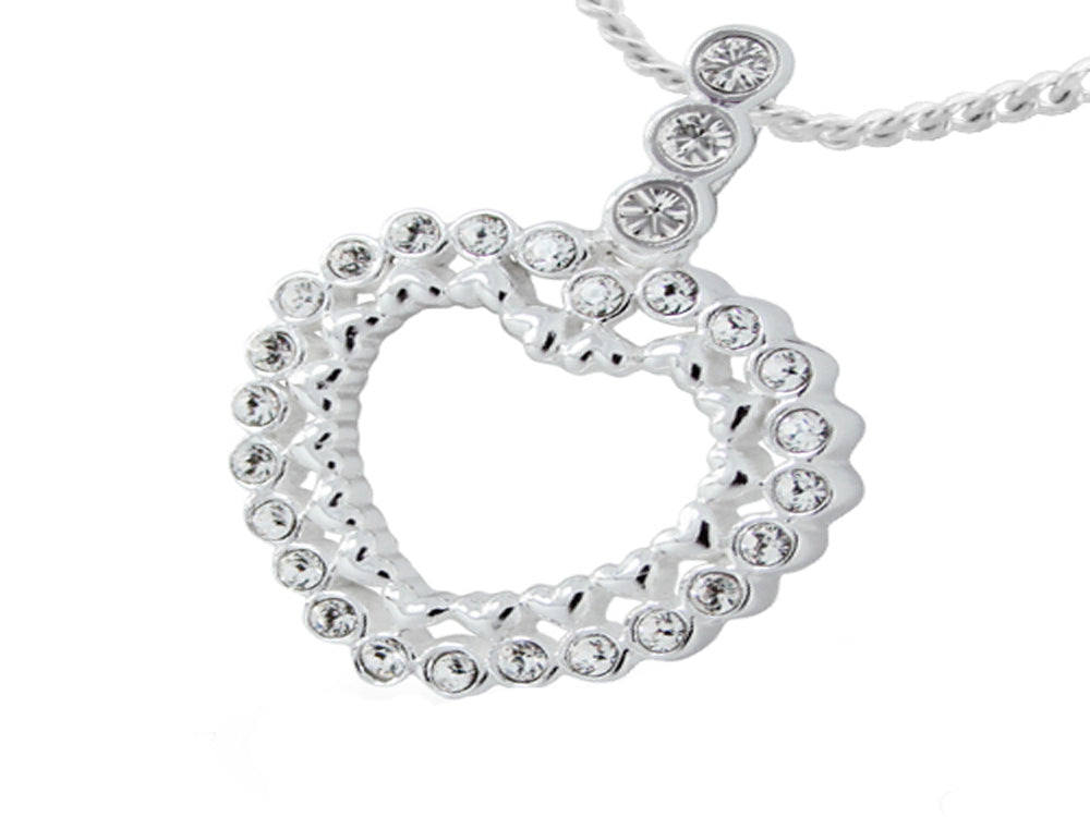 Crystal Studded Heart .925 Sterling Silver Pendant - Essentially Silver Jewelry