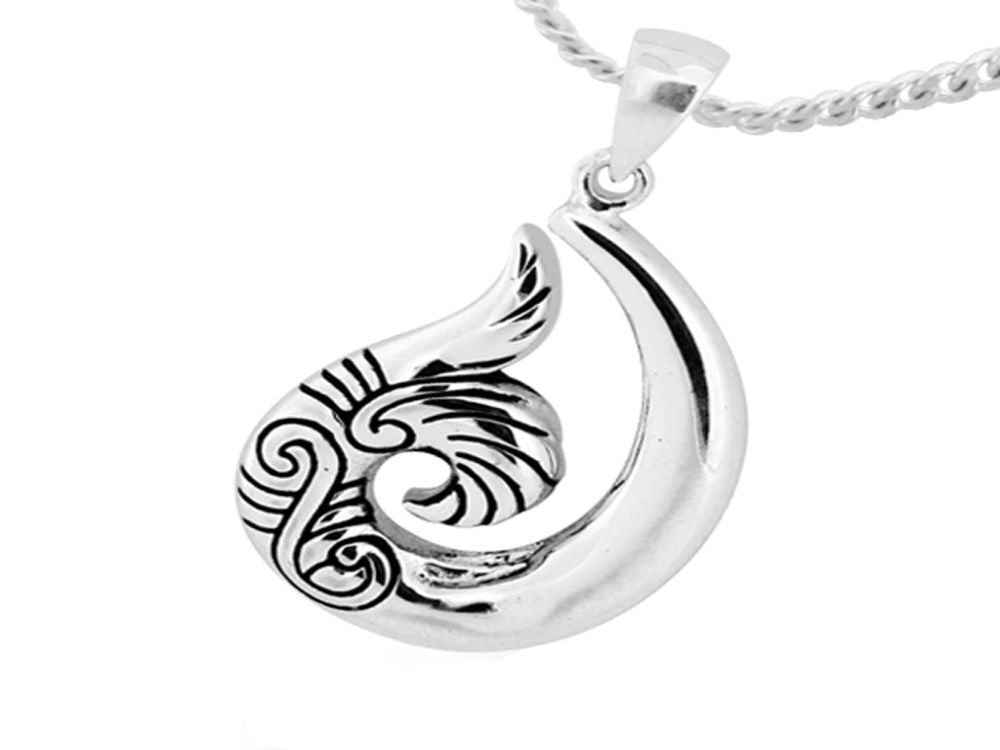Hook n' Tail Sterling Silver Pendant - Essentially Silver Jewelry