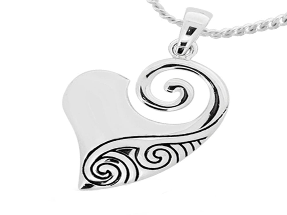 Heart Koru Sterling Silver Pendant - Essentially Silver Jewelry