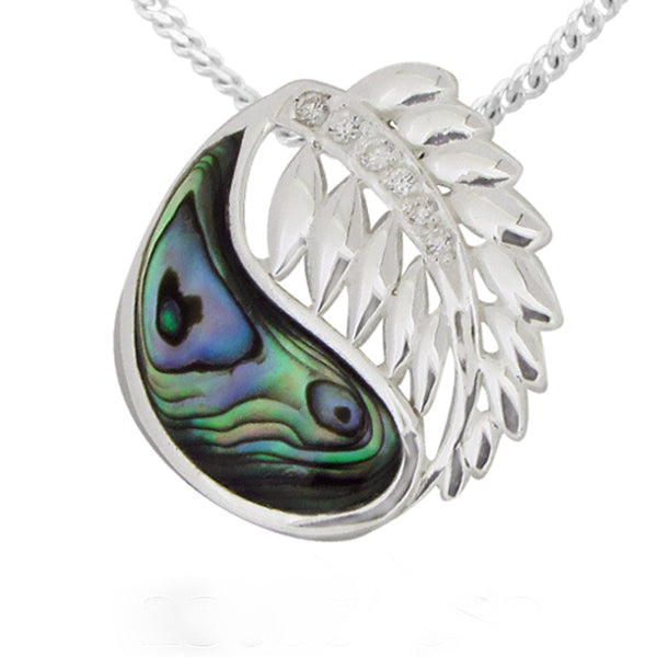 Paua Fern Sterling Silver Pendant - Essentially Silver Jewelry