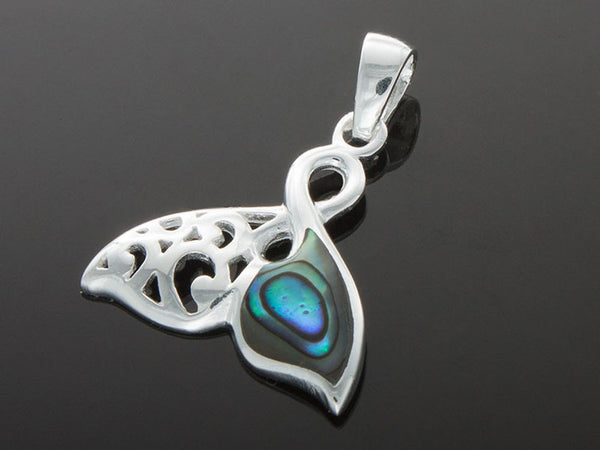 Paua Fish Tail Filagree Sterling Silver Pendant - Essentially Silver Jewelry