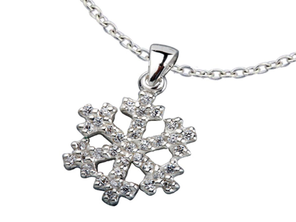 Snowflake Cubic Zirconia Sterling Silver Pendant - Essentially Silver Jewelry