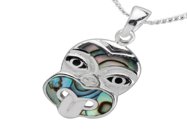 Paua Tiki Head Sterling Silver Charm/Pendant - Essentially Silver Jewelry