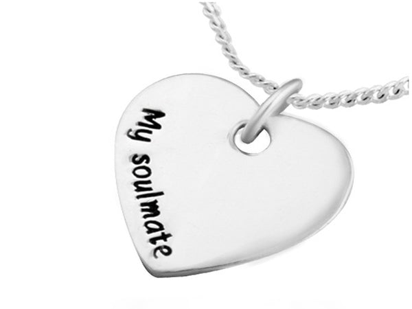 "Heart with ""My Soulmate"" Inscription Sterling Silver Pendant - Essentially Silver Jewelry"