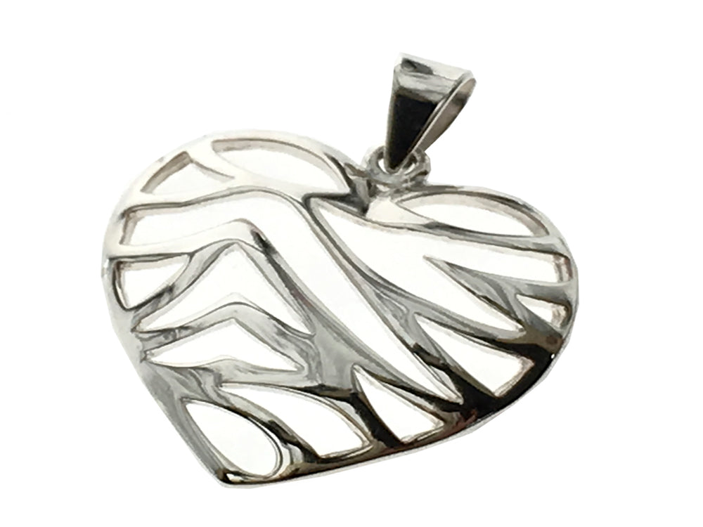 Heart Openwork Sterling Silver Striped Pendant - Essentially Silver Jewelry