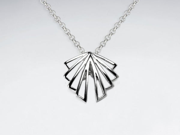 Sterling Silver Art Deco Openwork Fan Necklace