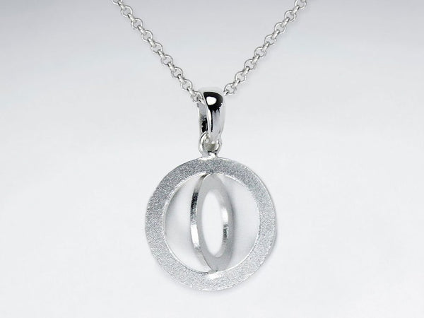 Sterling Silver Round Sand Blasted Ring Engraved Necklace