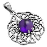 Celtic Knot Sterling Silver Pendant set w Amethyst