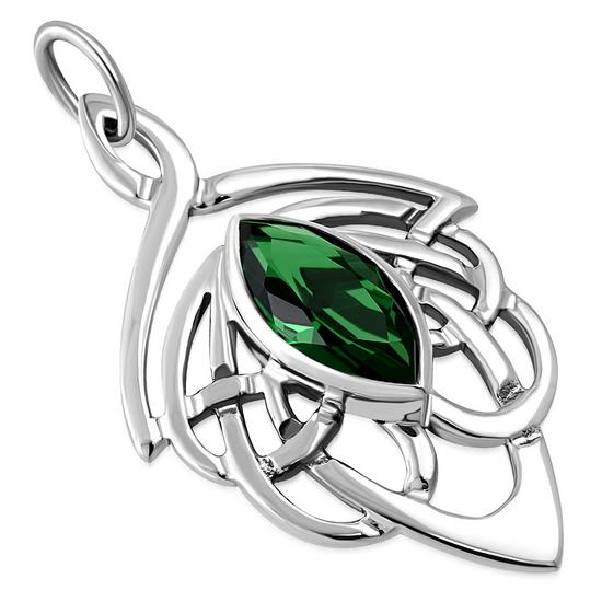 Celtic Sterling Silver Pendant set w Green CZ