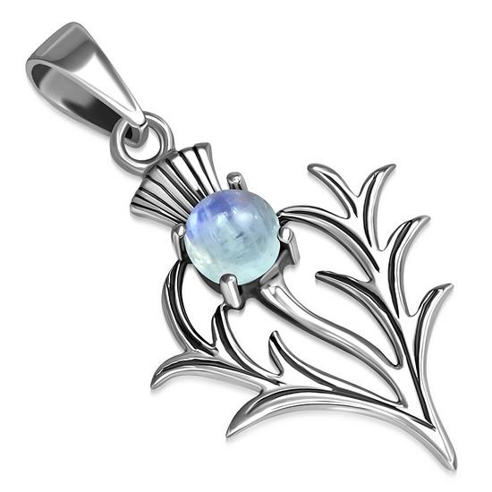 Scottish Sterling Silver Thistle Pendant w Rainbow Moonstone