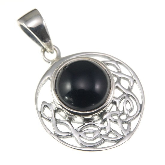 Black Onyx cab Round Celtic Knot Silver Pendant