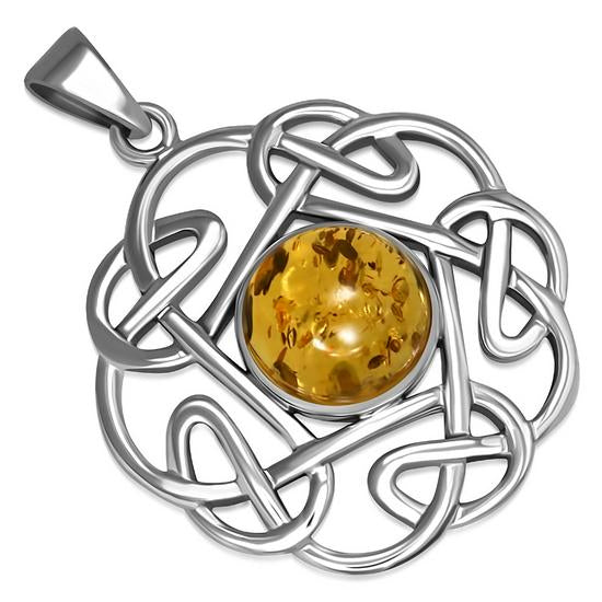 Amber Round Celtic Knot Sterling Silver Pendant