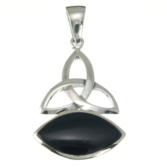 Onyx Trinity Knot Sterling Silver Pendant