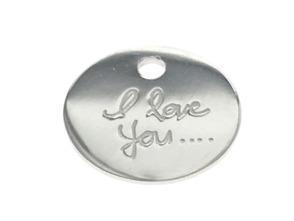 "Tag 8mm  with ""I love you"" Inscription - Essentially Silver Jewelry"
