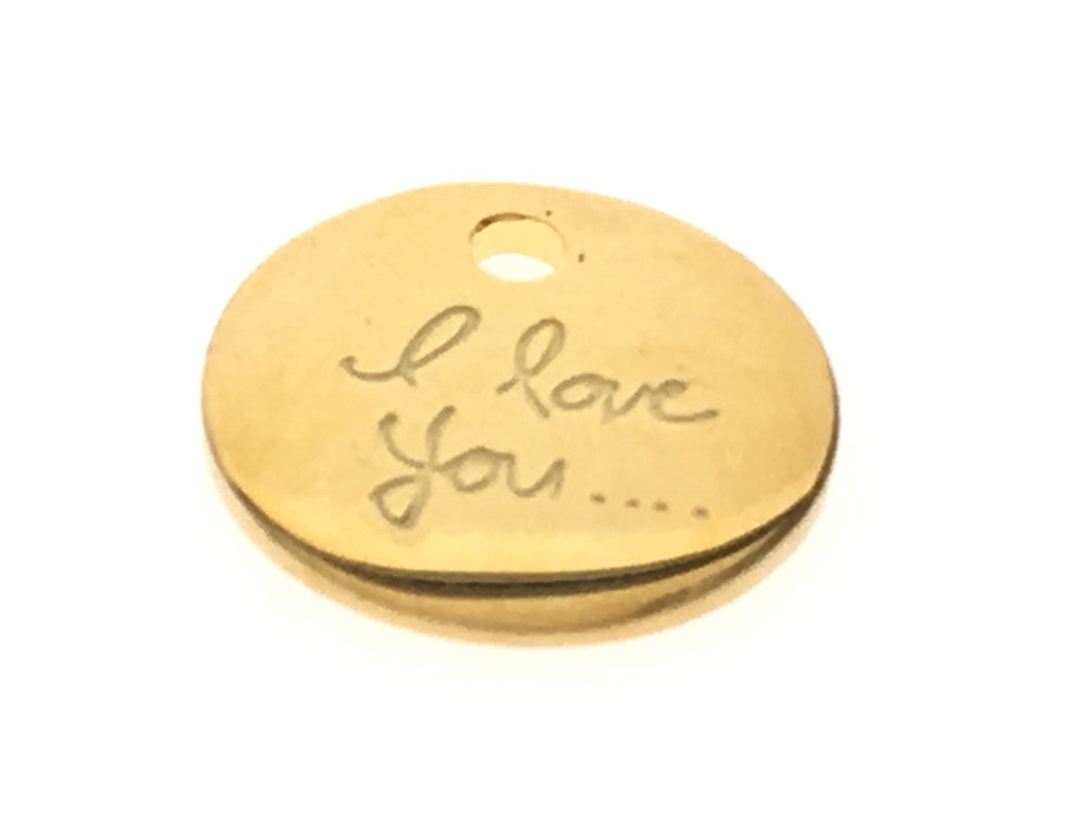 "Gold plated 8mm tag with ""I love you"" inscription Sterling Silver"