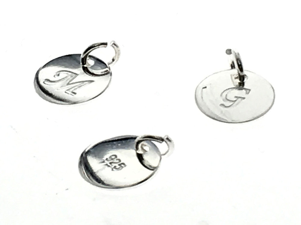 Tag 8mm Sterling Slver engraved with initals A-Z (choose one) - Essentially Silver Jewelry