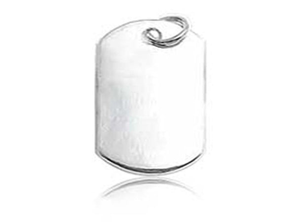 Plain Dog Tag 27/15mm Sterling Silver Pendant - Essentially Silver Jewelry