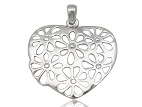 Heart Daisy Sterling Silver Pendant - Essentially Silver Jewelry
