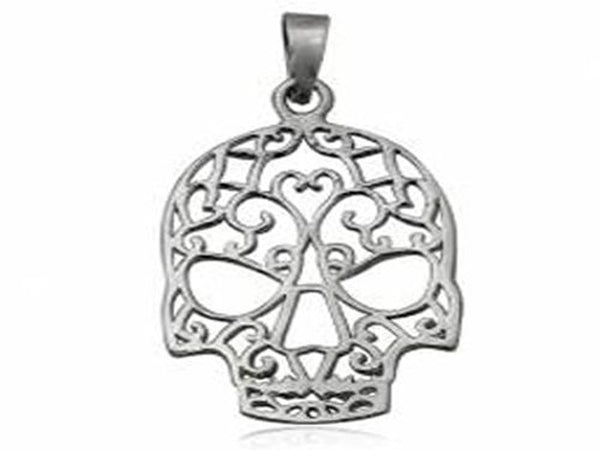 Skull Sterling Silver Lacey Pendant - Essentially Silver Jewelry