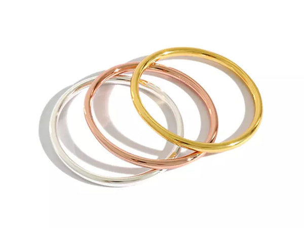Gold/Rose Gold/Silver Sterling Silver Band