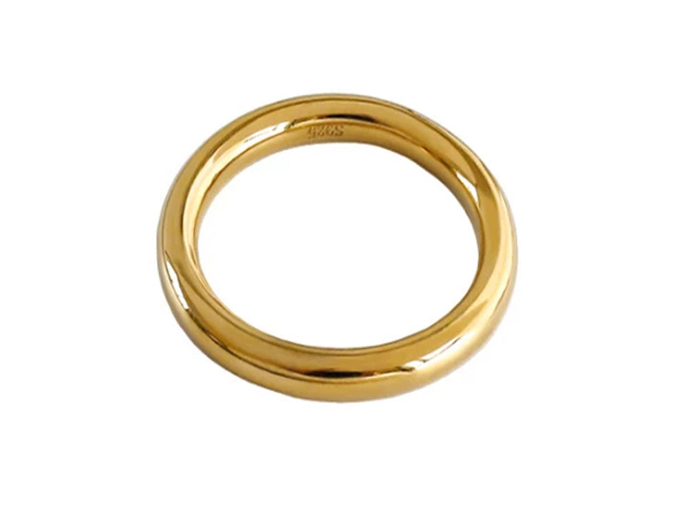Gold Plated Rounded Sterling Silver Band