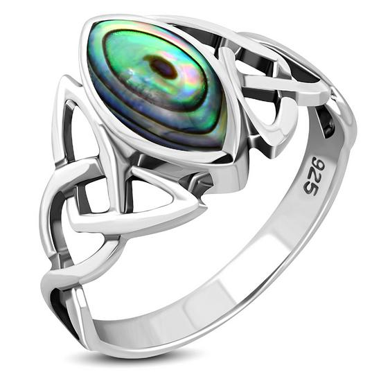 Celtic Knot Sterling Silver Paua Ring