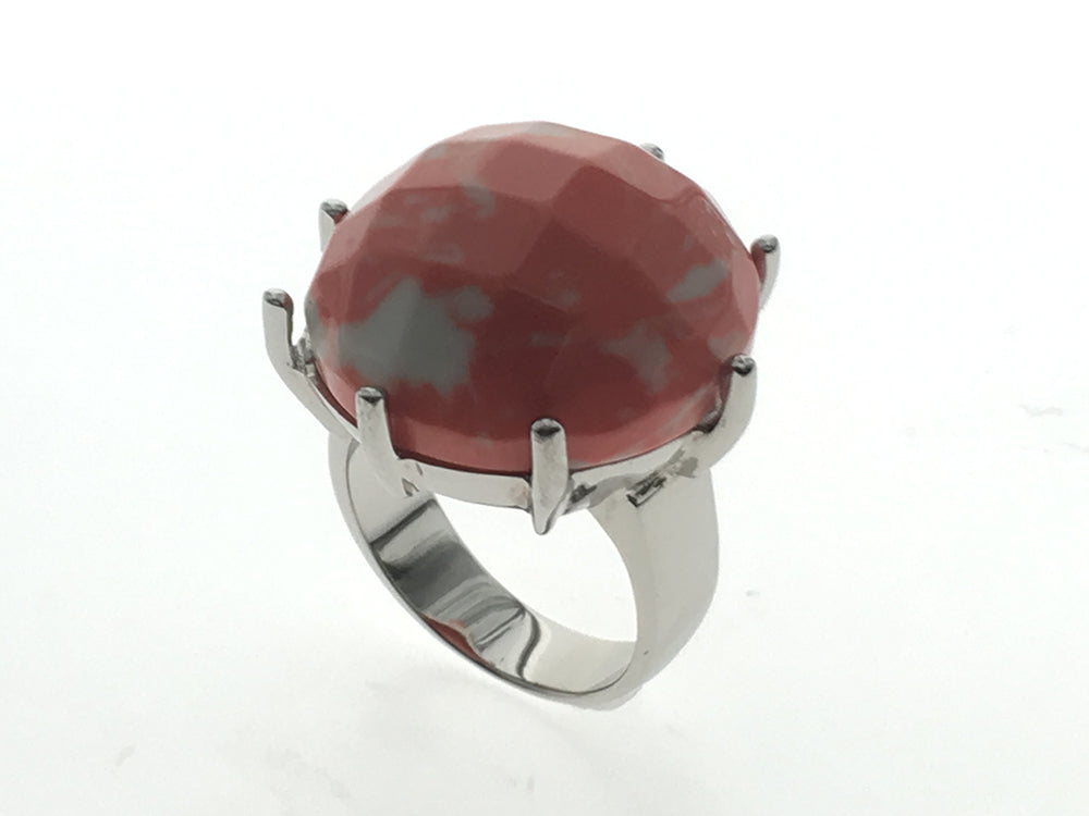 Coral Imitation sterling silver ring