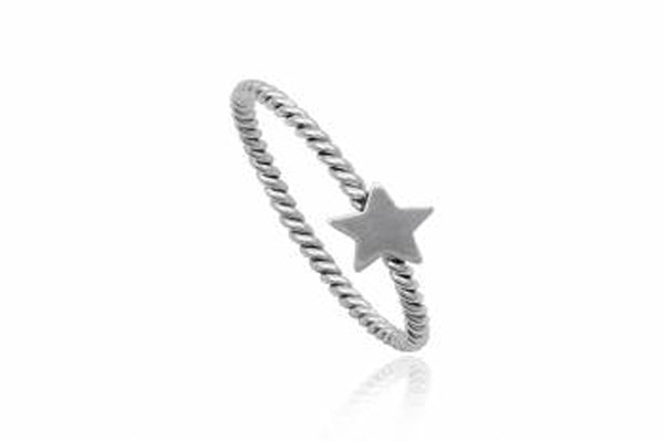 Plain Star Twist Sterling Silver Ring