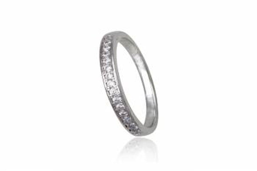 Cubic Zirconia Sterling Silver Band